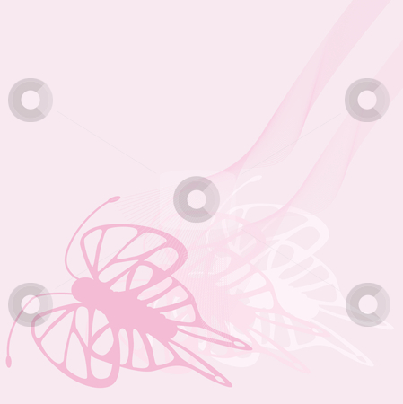Butterfly girl design stock vector clipart, Butterflies in several pink colors for girls with ribbon by Karin Claus