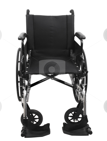 Black Wheel Chair stock photo, Black wheel chair on an isolated white background by John Teeter