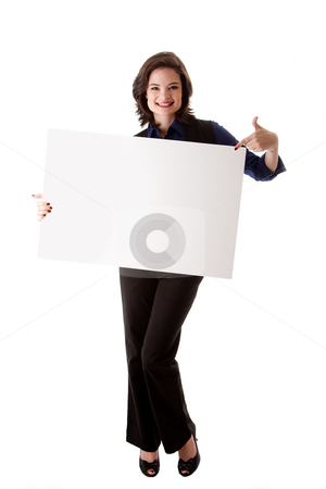 Young business woman with white board stock photo, Happy smiling beautiful young caucasian brunette business student woman standing holding a white blank board and pointing at it, isolated by Paul Hakimata