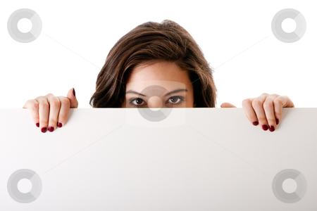Young business woman with white board stock photo, Partial face of beautiful young caucasian brunette business student woman holding a white blank board, isolated by Paul Hakimata
