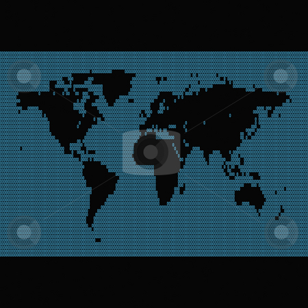Binary World Map stock photo, Digital world map montage made up of binary symbols and digits. by Todd Arena