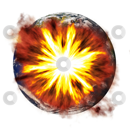 Earth Exploding stock photo, An illustration of the earth exploding from an asteroid or other nuclear weapon. by Todd Arena