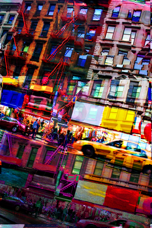 Abstract City Montage stock photo, Abstract montage of city life with vivid colors.  This image tiles seamlessly as a pattern in any direction.  It works great as a website background texture. by Todd Arena