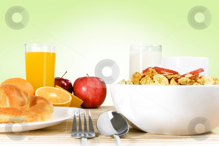 Breakfast stock photo, Light breakfast setting over bamboo placemat, green gradient background by iodrakon