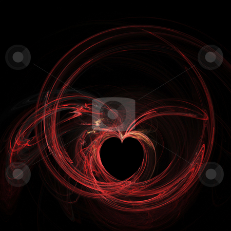 Winged heart stock photo, Flame fractal giving impression of a heart with wings, circled by a ring by Helen Shorey