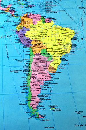 South America map stock photo, South America color map, includes many details. by Fernando Barozza