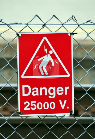 Danger sign stock photo, High voltage danger sign by Fernando Barozza