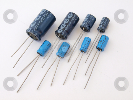 Assorted capacitors.     stock photo, Assorted capacitors as used in a computer. by Ian Langley