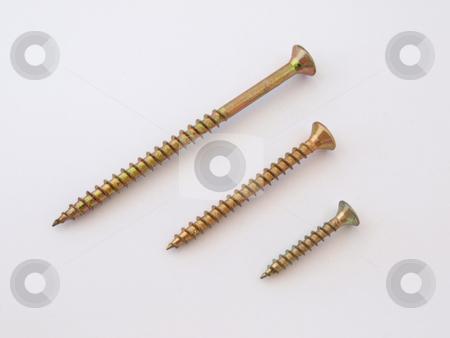 Brass wood screws.     stock photo, Three assorted no 8 countersunk, brass wood screws. by Ian Langley