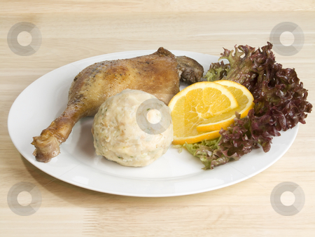 Roasted poultry stock photo, Roasted goose leg on bright background by Birgit Reitz-Hofmann