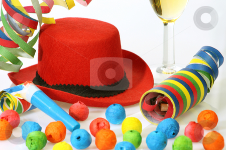 Party hat stock photo, Red hat and party goods on bright background by Birgit Reitz-Hofmann
