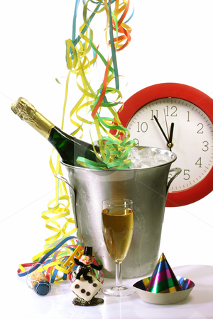Twelve a clock stock photo, Champagne toast composition with streamers and talisman on bright background by Birgit Reitz-Hofmann