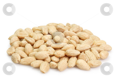 Salted almonds stock photo, Almonds on the bright background. by Birgit Reitz-Hofmann