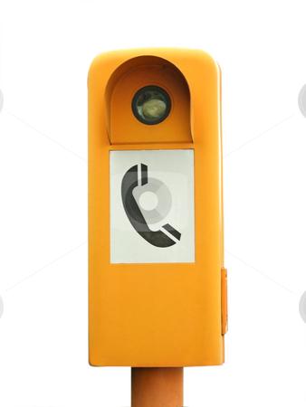 Emergency telephone stock photo, Emergency telephone box isolated on white background by Birgit Reitz-Hofmann