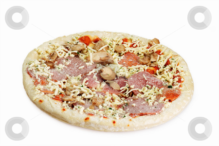 Frozen pizza stock photo, Uncooked, frozen pizza isolated on bright background. by Birgit Reitz-Hofmann