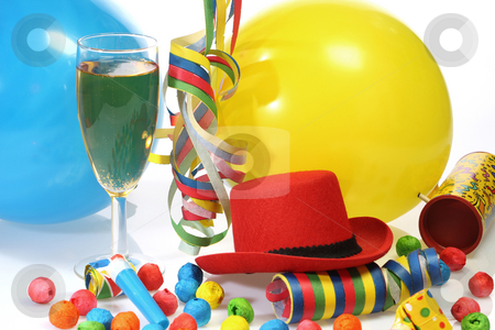 Champagne glass stock photo, Party goods and champagne on bright background by Birgit Reitz-Hofmann