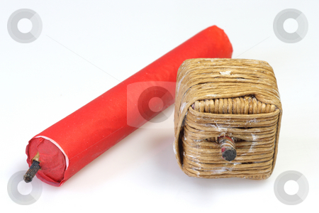 Bangers stock photo, Red Firecrackers on bright background by Birgit Reitz-Hofmann
