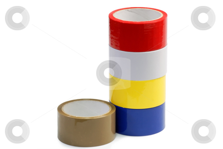 Insulating tapes stock photo, Colorful insulating tape isolated on white background by Birgit Reitz-Hofmann