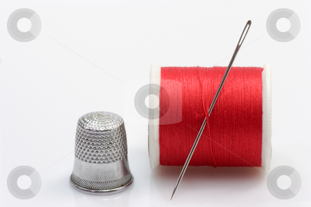 Sewing kit stock photo, Sewing kit on bright background. Shot in studio. by Birgit Reitz-Hofmann