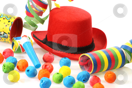Carnival ball stock photo, Party goods on bright background by Birgit Reitz-Hofmann