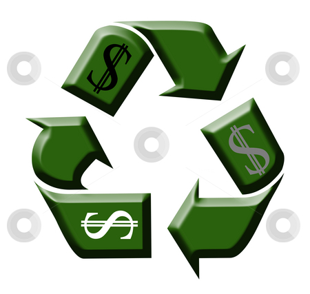 Recycling stock photo, Green symbol for recycling on the white background by Petr Koudelka