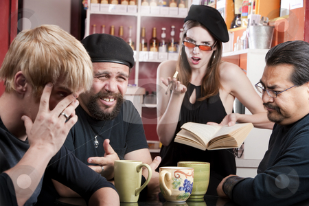 Bad Poetry stock photo, Three men listening to bad female poet with smoky cigarette in a coffee house by Scott Griessel