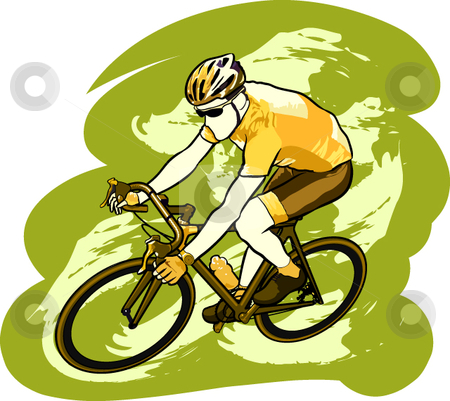 Cyclist stock vector clipart, A vector illustration of an athlete riding a bicycle. by Erasmo Hernandez