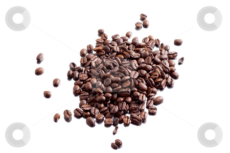 Coffeebeans stock photo, A bunch of coffee beans on aluminum foil (mirror effect) by Alexander Zschach