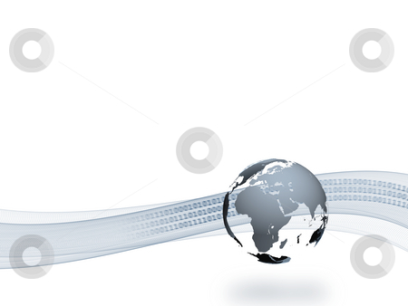 Internetional Data Transfer stock photo, A 3d globe with shadow and a abstract curve and binary text in the background by Alexander Zschach