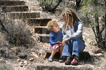African American Mother and Son stock photo, Portrait of mother with cute son outdoors by Scott Griessel