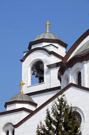 Details of Sveti Sava cathedral in Belgrade stock photo, Sveti Sava cathedral over blue sky in Belgrade, Serbia by Julija Sapic