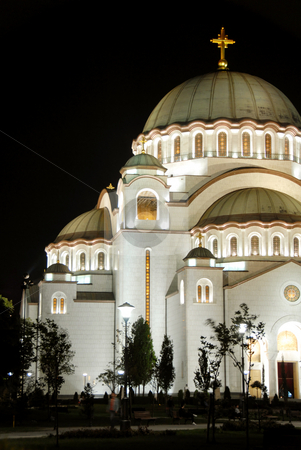 Sveti Sava cathedral in Belgrade stock photo, Sveti Sava cathedral at night in Belgrade, Serbia by Julija Sapic