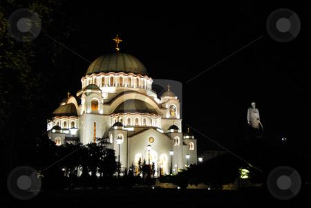 Sveti Sava cathedral in Belgrade stock photo, Sveti Sava cathedral at night in Belgrade, Serbia by Julija Sapic