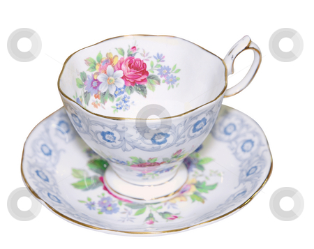 Antique Cup and Saucer  stock photo, Antique Cup and Saucer isolated with clipping path by Margo Harrison
