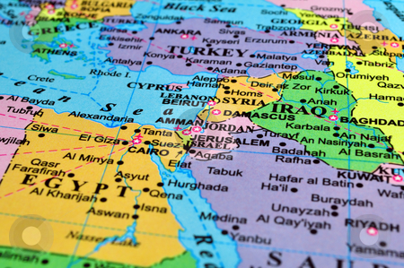 Middle East map stock photo, Middle East map, conflict zone. Focus on the Israel-Syria-Jordan area. by Fernando Barozza