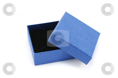 Open Blue Gift Box stock photo, Open blue cardboard box with black foam interior used for small jewellery pieces. by Helen Shorey