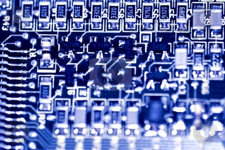 Circuit Board stock photo, Close up of a computer electronic circuit board. by Henrik Lehnerer