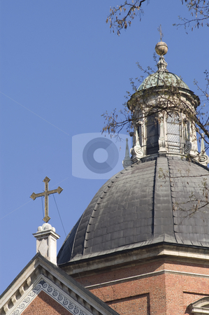 Church and cross stock photo, View of church dome and cross, Krakow, Poland by Stephen Sienczyk