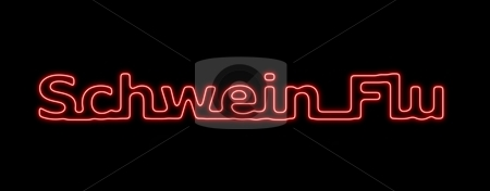 Schwein Flu Neon Red Black stock photo, Neon sing about the schwein flu on black background by Henrik Lehnerer