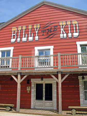 Billy the Kid stock photo, Billy the Kid Wooden building in red. by Lucy Clark
