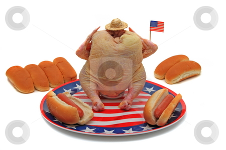 Fourth of July BBQ stock photo, Independence day  fourth of July BBQ beercan chicken  celebration isolated on white by Jack Schiffer
