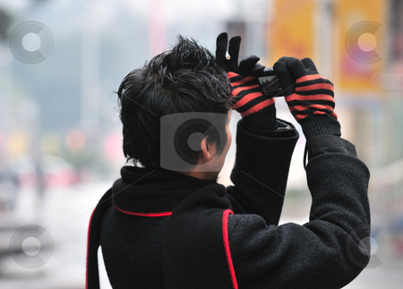 Tourist  stock photo, Tourist take photograph of chinese temple in shanghai by Kobby Dagan