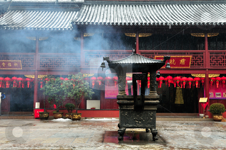 Chinese buddhist shrine  stock photo, Chinese buddhist shrine in the city of Shanghai China by Kobby Dagan
