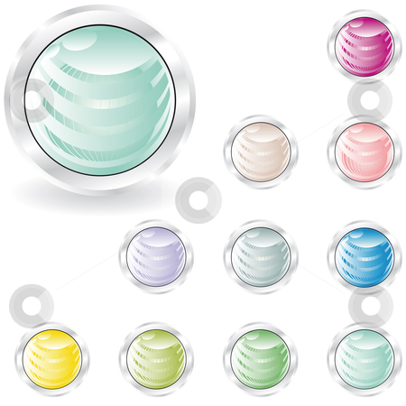 Web buttons in pastel tint stock vector clipart, Web buttons in pastel tint with sphere inside and metal looking ring by Karin Claus