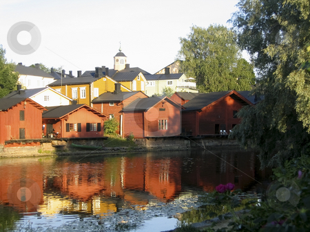 Red warehouses stock photo, The typical red warehouses of Porvoo, Finland by Alessandro Rizzolli