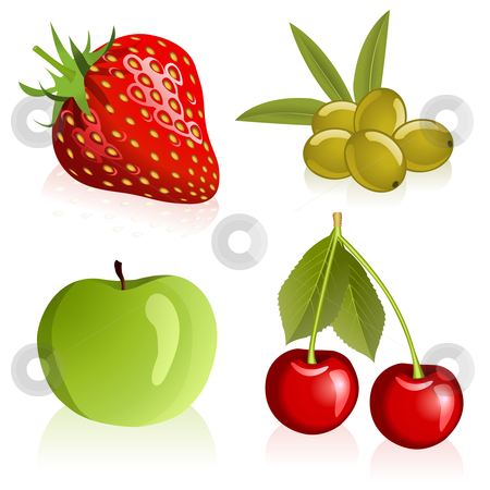 Set of fruits stock vector clipart, Illustration of strawberry, cherries, olives and apple by Laurent Renault