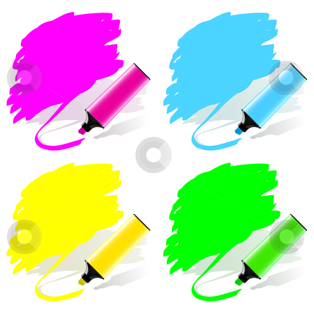 Marker labels set stock vector clipart, Highlighted labels by a marker in a vector set by Laurent Renault