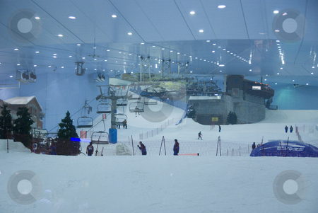 Indoor Skiiing Dubai stock photo,  by Didier Tais