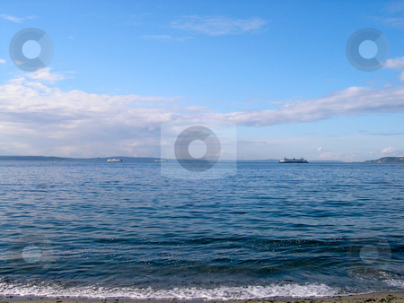 Alki stock photo, View of Puget Sound from Alki by Jaime Pharr