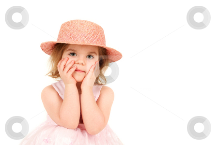 Portrait of young girl in pink princess dress and hat with hands stock photo,  by Tom P.